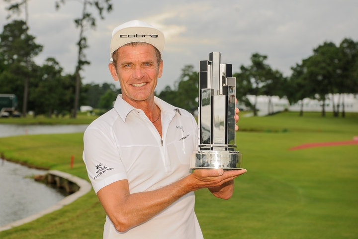 8-5-2016 Champions Tour 2016, Insperity Invitational, The Woodlands CC, The Woodlands, TX, USA. 06-08 May. Jesper  Parnevik of Sweden holding the trophy after winning the 2016 Insperity Invitational.