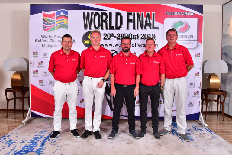 JOHOR, MALAYSIA- OCTOBER 21: Team of Denmark pictured during official Welcome Dinner and Flag Raising Ceremony of the World Amateur Golfers Championship (WAGC), World Final, at the Forest City Golf Hotel on October 21, 2018 in JOHOR,  MALAYSIA . (Photo by Masuti / WAGC )
