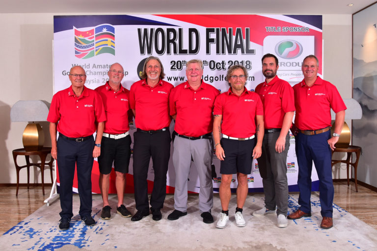 JOHOR, MALAYSIA- OCTOBER 21: Team WAGI of Denmark pictured during official Welcome Dinner and Flag Raising Ceremony of the World Amateur Golfers Championship (WAGC), World Final, at the Forest City Golf Hotel on October 21, 2018 in JOHOR,  MALAYSIA . (Photo by Masuti / WAGC )